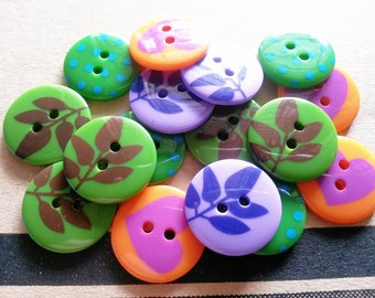 24 pcs Cute Retro Buttons 19 mm mix pattern