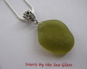 Sea Glass Pendant, Beach Glass Necklace, Green Sea Glass Jewelry, Beach Glass Jewelry, Green jewelry, Sea Glass Necklace