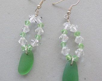 Green Sea Glass Earrings, Sea Glass Jewelry, Seaglass Earrings, Dangle Earrings, Sterling Silver Earrings, Crystal Earrings