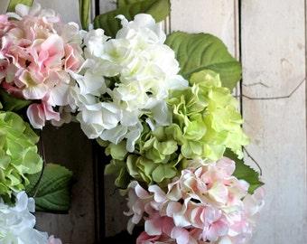 Hydrangea Wreath - Wedding Decor - Spring Hydrangea Wreath - Spring Wedding - Ivory - Peach - Green