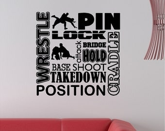 Wrestling Wall Decal Wrestle Wall Sticker Removable Wrestling Wall Art