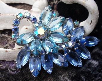 Juliana Style Two Blues Brooch Unfoiled Rhinestone