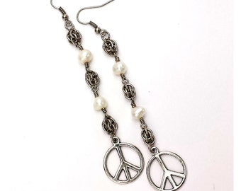 Ready to Ship Sweet Pearls of Peace Chainmaille Earrings