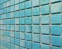 "25 1/2"" Turquoise Opaque Glass Mosaic Tiles/ Blue Tiles/ Caribbean Blue / Dark Aqua"