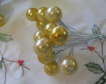 12 Vintage 1960s Christmas Gold Mercury Glass Balls Wire Picks - Art Craft Supply -