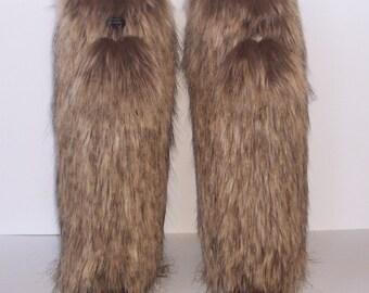 Fabulous Fox Faux Fur Leg Muffs with Pom Pons