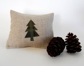 Balsam Fir Sachet in Linen with Mini Plaid Tree Applique - Olive and Teal Plaid Tree - Balsam Fir Sachet