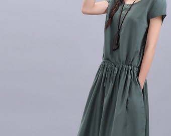 Maxi Dress Loose Fitting Sundress Short Sleeve Summer Dress in Green