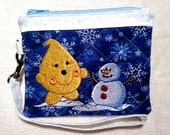 Winter Parker Snowman Wristlet - Quilted Embroidered in Blue & White