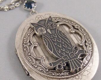 Winking Hoots,Owl Necklace,Owl Locket,Sapphire Necklace,Sapphire Locket,Owl Jewelry,Moon Locket,Moon Necklace,Moon Jewel valleygirldesigns