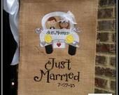 Unique Just Married Wedding Garden Flag Wedding Date; Bridal, Wedding; Shower gift