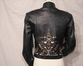 Leather Jacket - UPCYCLED - One Of a Kind - Hand Painted