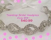 Crystal Bridal Headband, Teardrop Headband, Rhinestone Headpiece, ATHENA,  Rhinestone Headband, Crystal Headband, Rhinestone