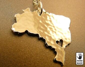 BRAZIL :sterling silver pendant, sterling silver chain,custom heart