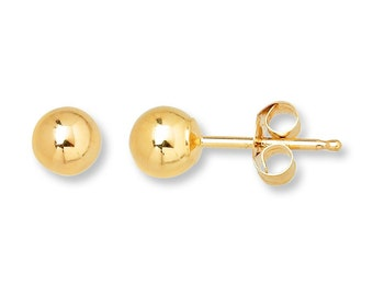 SALE 14K Yellow Gold 6mm Ball Stud Womens Earrings