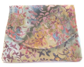 Lavender Leaves in the Wind Small Batik Wallet