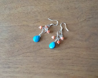 My Heart Coral and Turquoise Seas Earrings