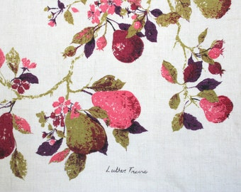 Vintage Luther Travis linen tablecloth. Fruit, pears, pink, maroon, purple, avocado green, saturated, painterly, all linen.