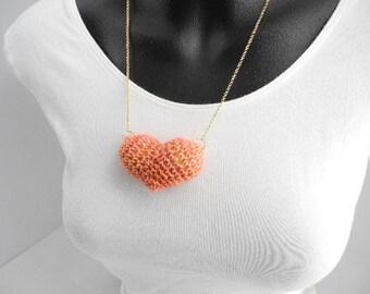 Peach Plush Heart Necklace