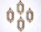 Antiqued brass Art Deco 2 ring connector earring drop, lot of (4) - JJ240