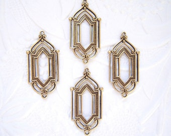 4- Antiqued brass Art Deco 2 ring connector earring drops - JJ240