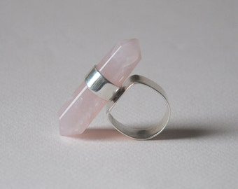 Pink Quartz Stick Natural Stone Sterling Siiver Ring