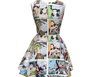 Comic Strip Lt White  Skater Dress