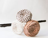 Subtle Colors Rosette Headband with Pearls