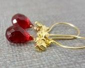 On SALE Red Quartz Earrings, Gold Bow Earrings, Red Teardrop, Ruby Red Gemstone Gold Vermeil Dangle Red Christmas Earrings Gold Jewelry