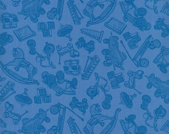Toys ~ Tone-on-Tone Blue ~ RJR Fabrics ~ Where the Toys Are Collection  ~ 1/2 Yard Cut ~ 100% Cotton Fabric ~ 1714-3