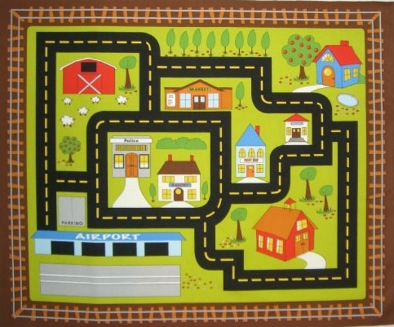 Fabric Roads For Toy Cars : On the go cotton print fabric panel