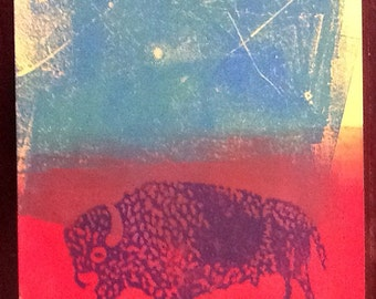 Abstract Bison Linocut block mono print 8.5x11 Inches