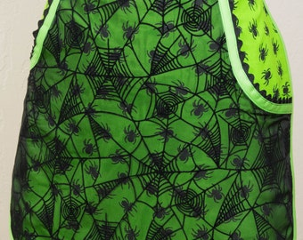 Green Spiders and  Black Webs Half Apron