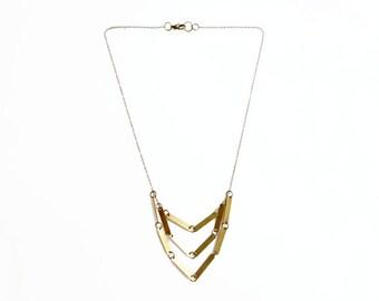 Multi Strand Bar Neckalce, Chevron Geometric Necklace,  Raw Brass Necklace, Everyday Minimalist Jewelry