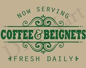 French Stencils - COFFEE & BEIGNETS - 11 x 20 - 7 mil Mylar Stencil - used for French Signs - Painting - Burlap - Pillows
