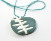 ceramic pendant and beaded necklace- eucalyptus in blue green