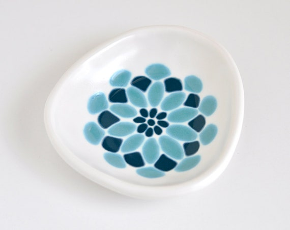 small ceramic dish - dahlia flower in dark teal and turquoise blue
