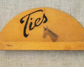 Tie Rack , Folk Art , Antique Folk Art , Handmade , Tie Bar , Tie Holder , Horses , Equestrian , Jewelry Hanger , Rustic Decor , Mens Gifts