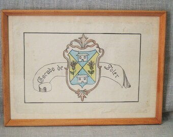 Antique Drawing , Family Crest , Antique , Drawing , European Crest , European Antique , Spanish Art  , Vintage Art , Handmade , Original