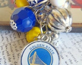 Golden State Warriors Inspired Beaded Cluster Charm or Keychain