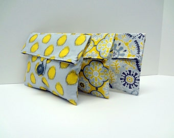 READY TO SHIP Gray and Yellow Foldover Bags Bridesmaid Clutches