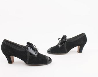 20s 30s Heels Pumps Oxfords Lace Up Art Deco Swing Black Nubuck Leather Vintage 1930s 1920s
