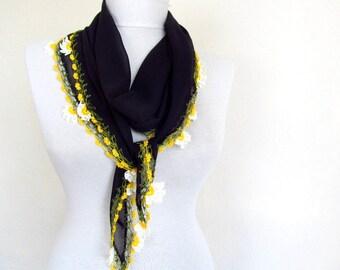 chiffon scarf - Oya Scarf- handmade scarves flower lace work -