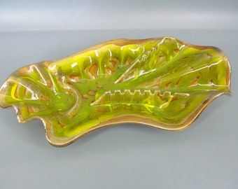 Large Vintage Atomic Eames Era California Pottery Green and Gold Ashtray...Beautiful!
