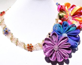 Gold Flower Necklace/ Pink, Purple and Yellow Fabric Flowers with button centers/ Multicolor Crystal flowers and Vines