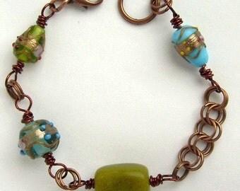 Bracelet cuivre lampwork et pierre vert et bleu