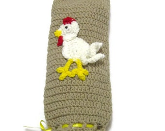 Crochet Plastic Bag Holder Tan with White Rooster, Bag Saver