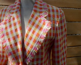 Vintage 80s Orange Plaid Jacket-Emanuel Ungaro- Size 6