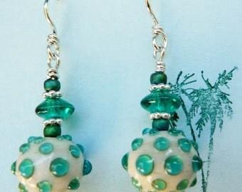 Teal Green Glass Dangle Earrings, Sterling Silver