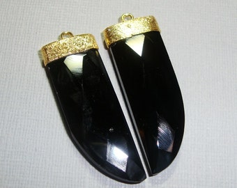 Black Onyx Faceted Tusk Horn Large Gold Vermeil Sterling Silver Earrings set, Pendant, 2 pcs